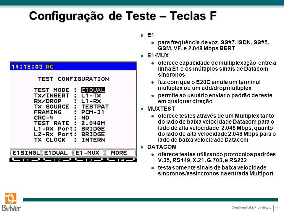 Configuração de Teste – Teclas F