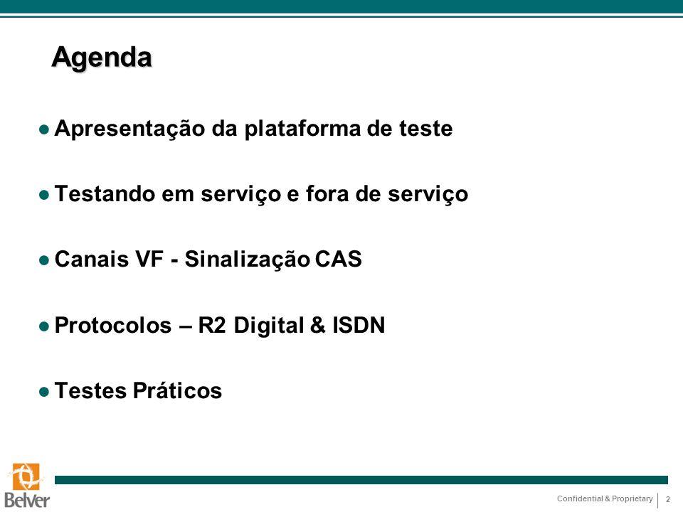 Agenda Apresentação da plataforma de teste