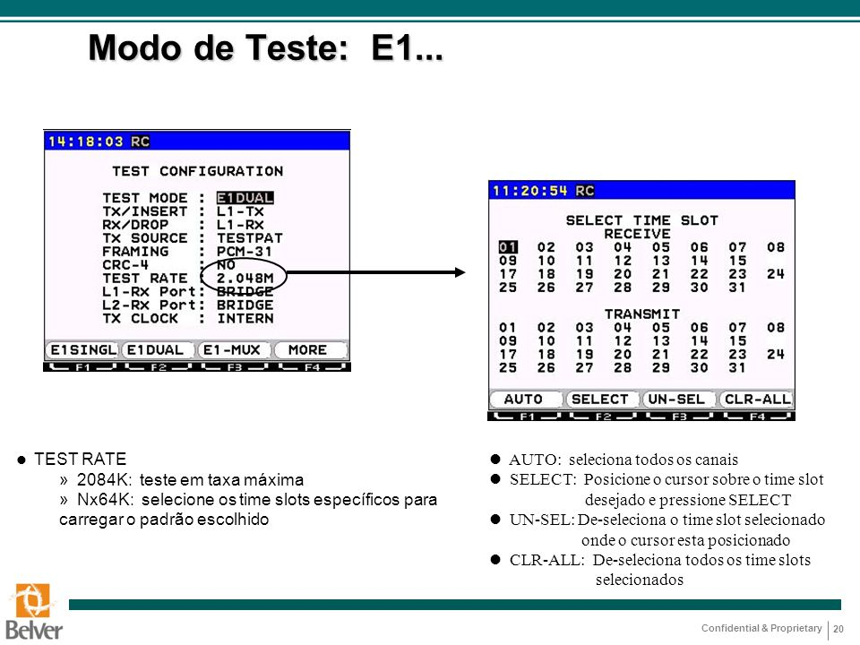 Modo de Teste: E1... 2084K: teste em taxa máxima