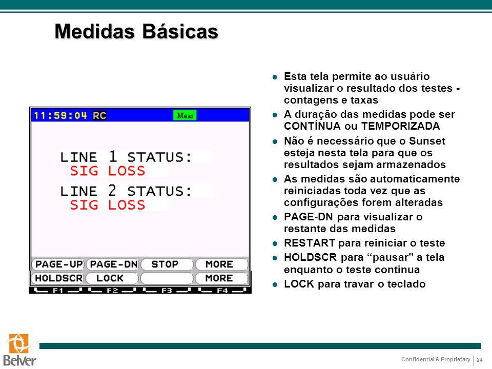 Medidas Básicas Esta tela permite ao usuário visualizar o resultado dos testes - contagens e taxas.