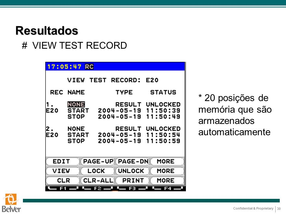 Resultados # VIEW TEST RECORD