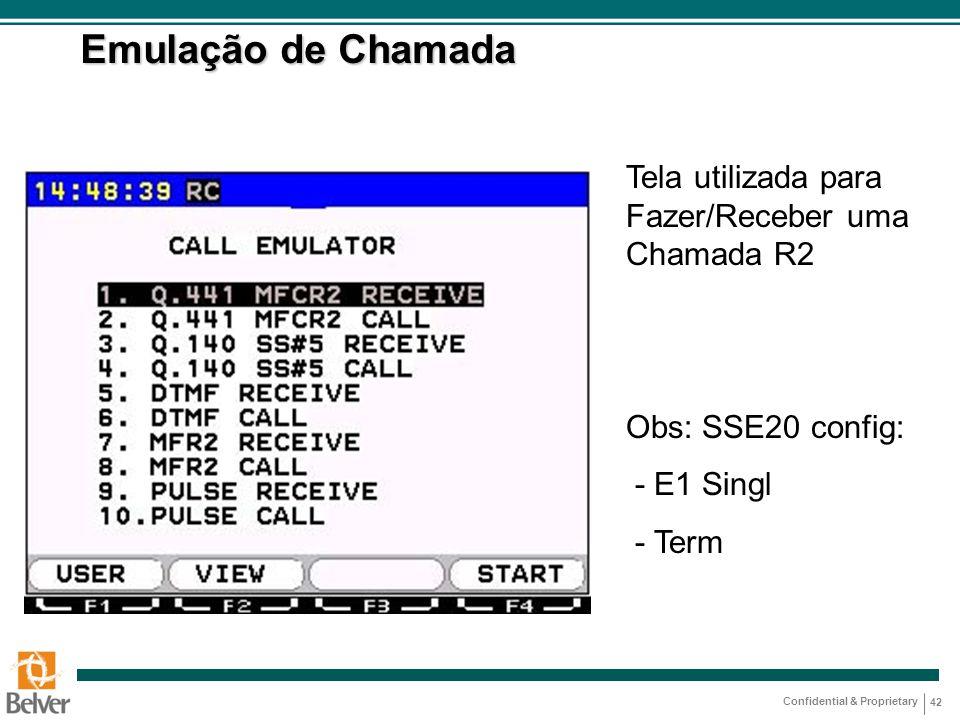 Emulação de Chamada Tela utilizada para Fazer/Receber uma Chamada R2