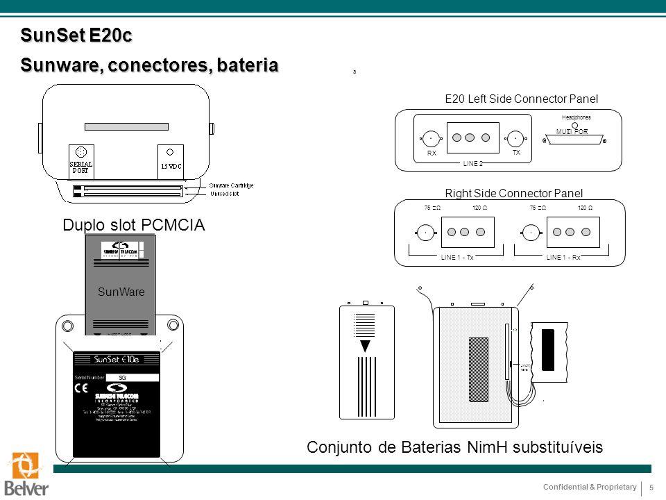 SunSet E20c Sunware, conectores, bateria