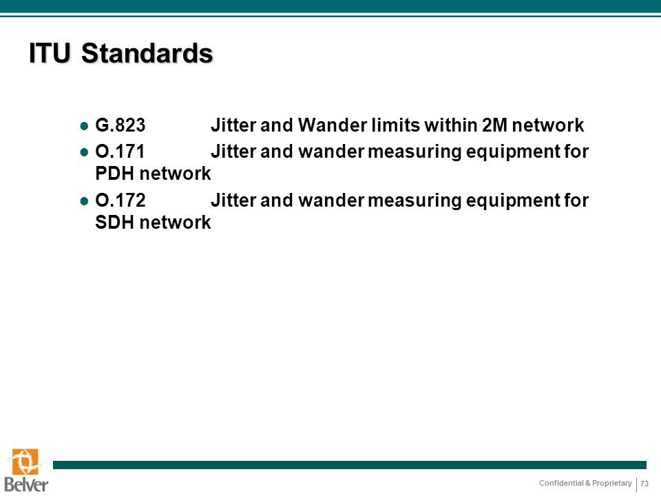 ITU Standards G.823 Jitter and Wander limits within 2M network