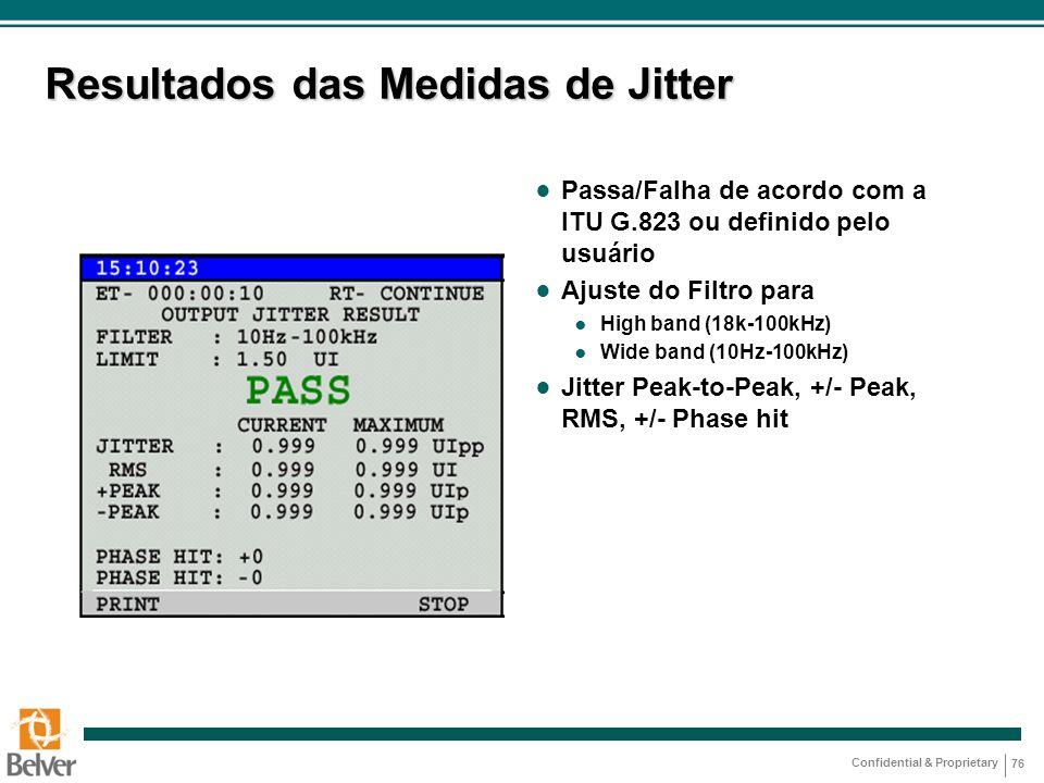 Resultados das Medidas de Jitter