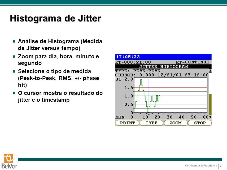 Histograma de Jitter Análise de Histograma (Medida de Jitter versus tempo) Zoom para dia, hora, minuto e segundo.