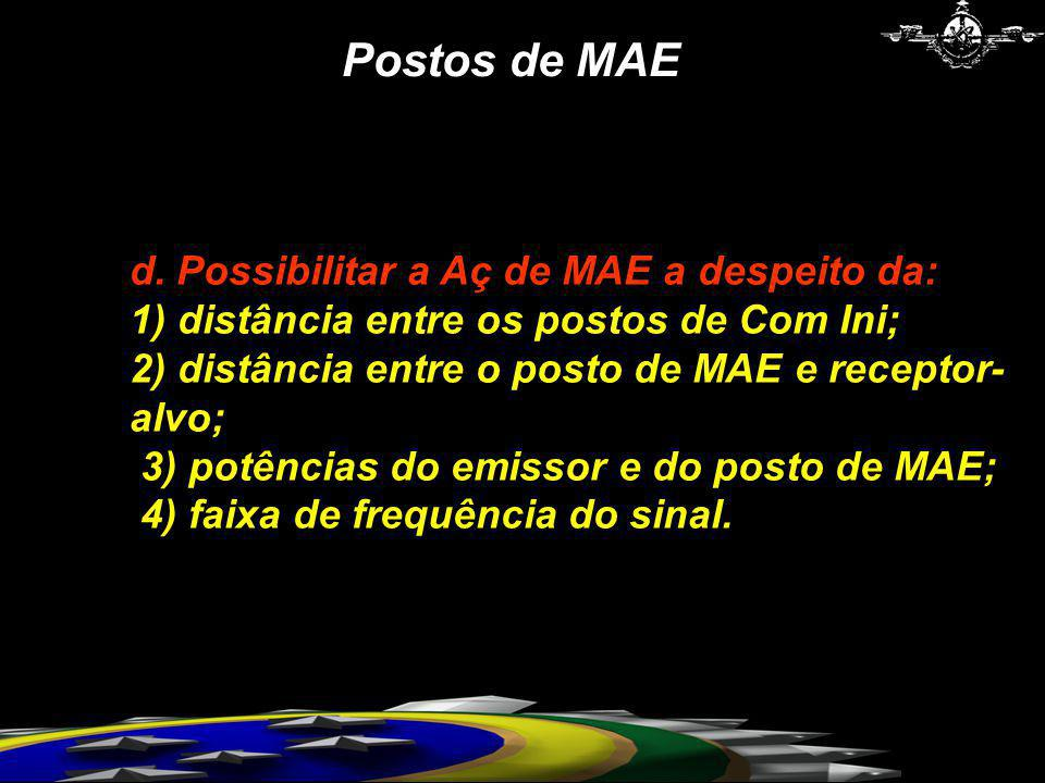 Postos de MAE d. Possibilitar a Aç de MAE a despeito da: