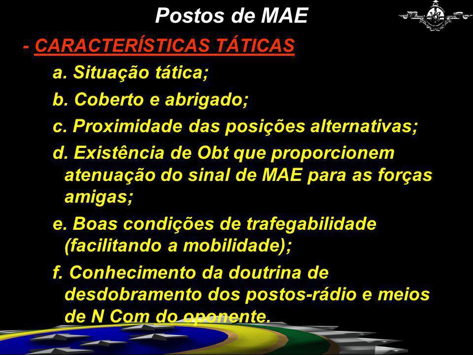 Postos de MAE - CARACTERÍSTICAS TÁTICAS a. Situação tática;