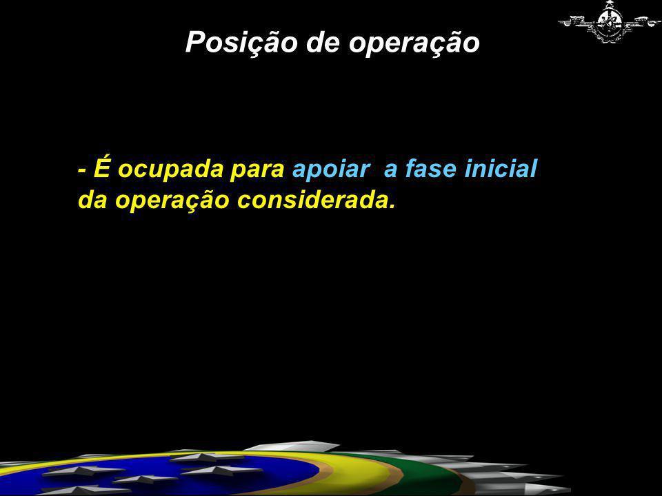 Posição de operação - É ocupada para apoiar a fase inicial da operação considerada.