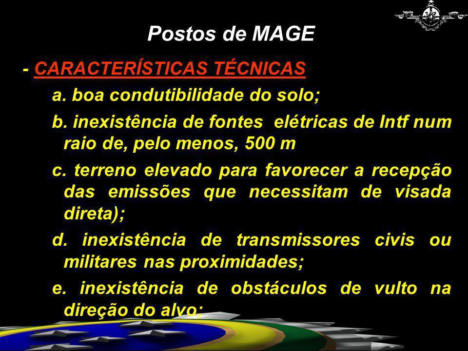 Postos de MAGE - CARACTERÍSTICAS TÉCNICAS