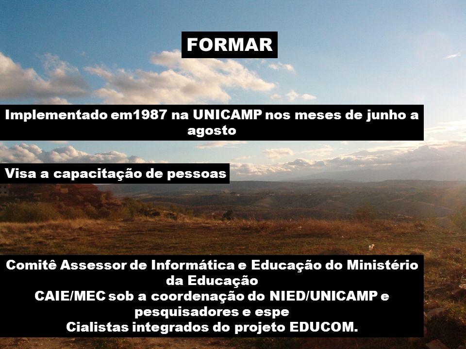 FORMAR Implementado em1987 na UNICAMP nos meses de junho a agosto