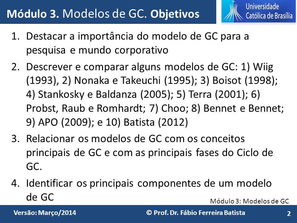 Módulo 3. Modelos de GC. Objetivos