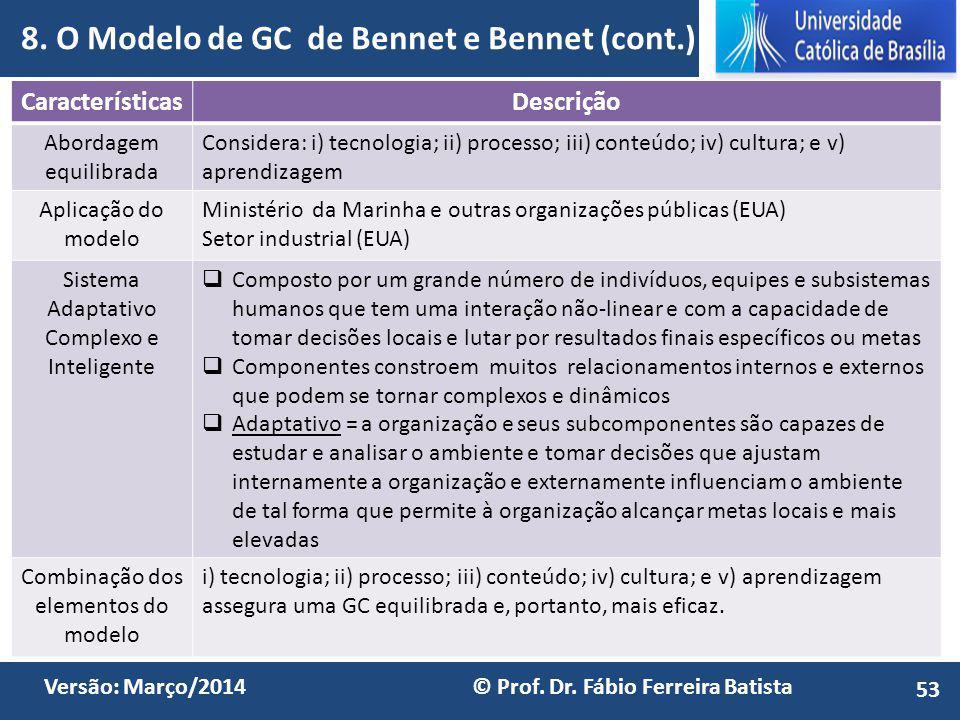 8. O Modelo de GC de Bennet e Bennet (cont.)