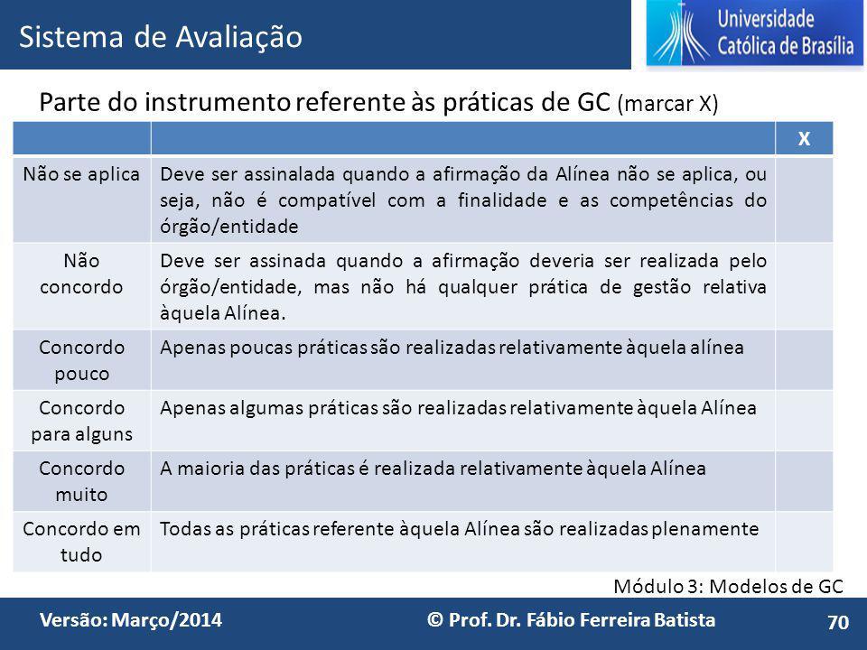 Sistema de Avaliação Parte do instrumento referente às práticas de GC (marcar X) X. Não se aplica.