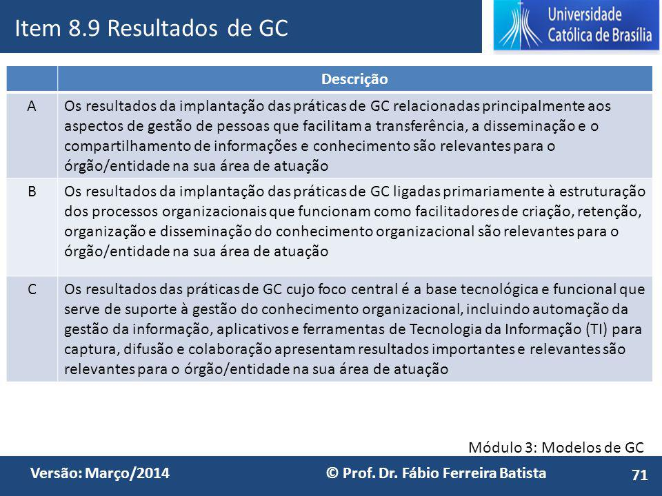 Item 8.9 Resultados de GC Descrição A