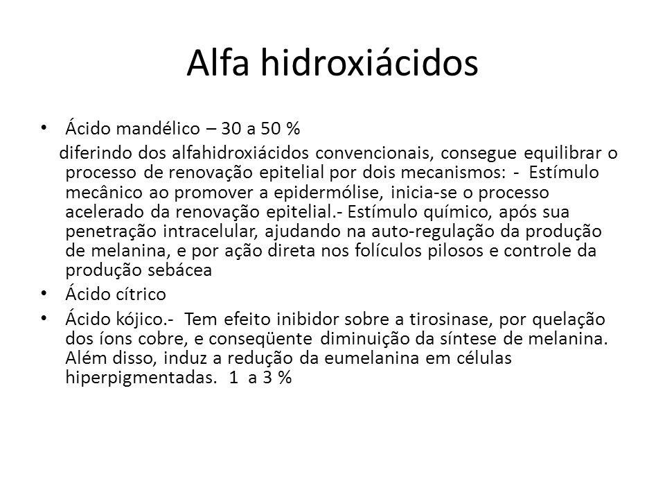 Alfa hidroxiácidos Ácido mandélico – 30 a 50 %