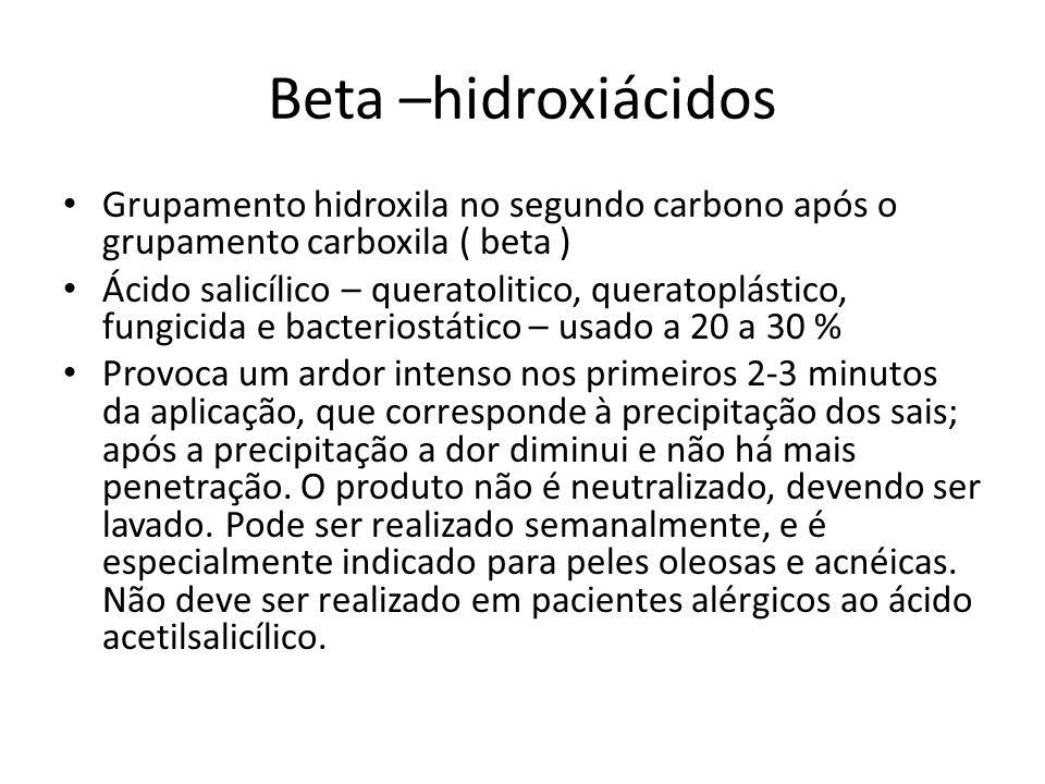 Beta –hidroxiácidos Grupamento hidroxila no segundo carbono após o grupamento carboxila ( beta )