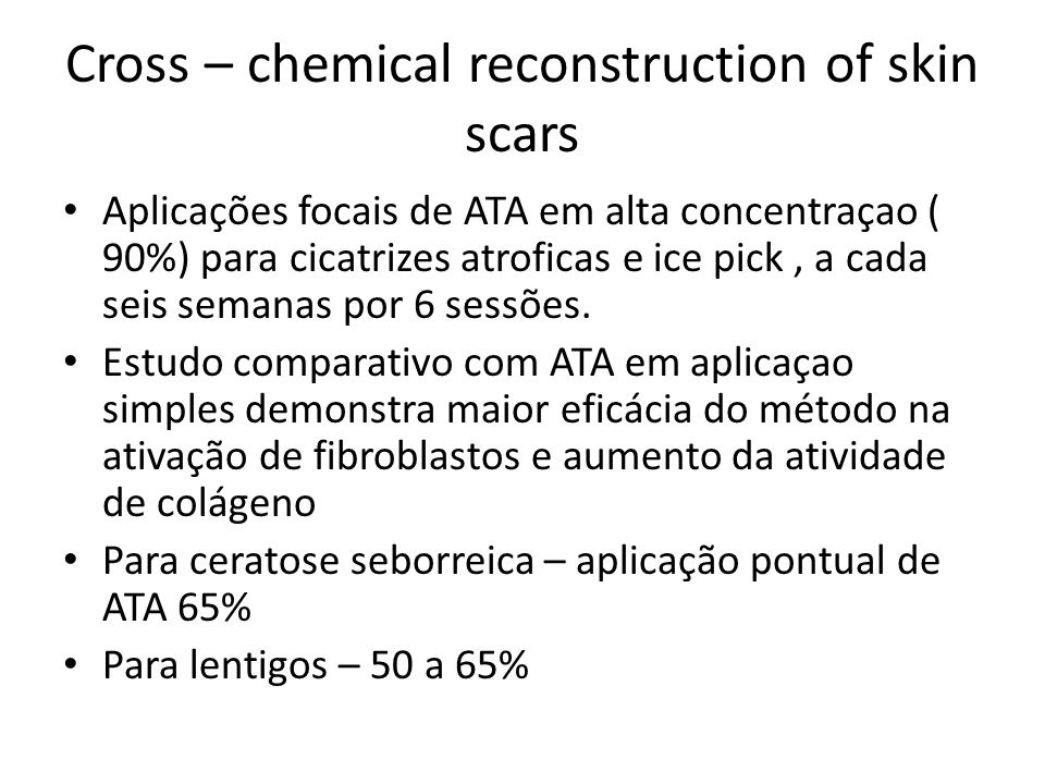 Cross – chemical reconstruction of skin scars