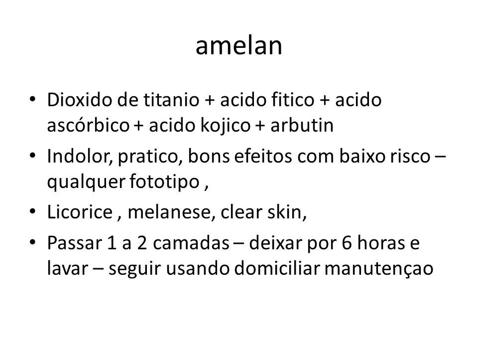 amelan Dioxido de titanio + acido fitico + acido ascórbico + acido kojico + arbutin.