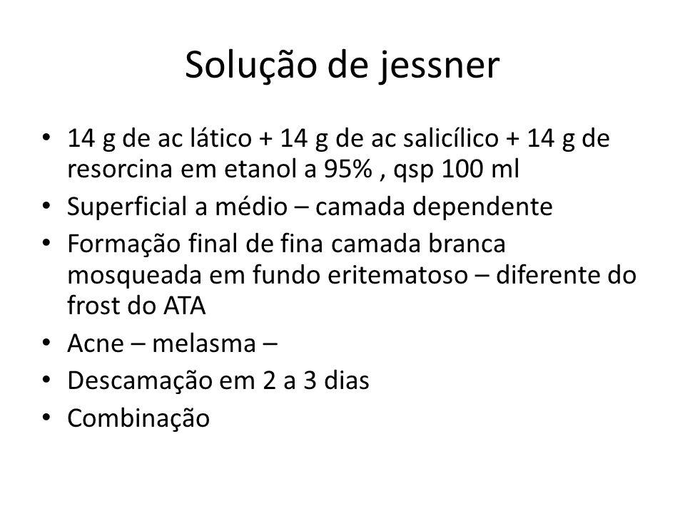 Solução de jessner 14 g de ac lático + 14 g de ac salicílico + 14 g de resorcina em etanol a 95% , qsp 100 ml.