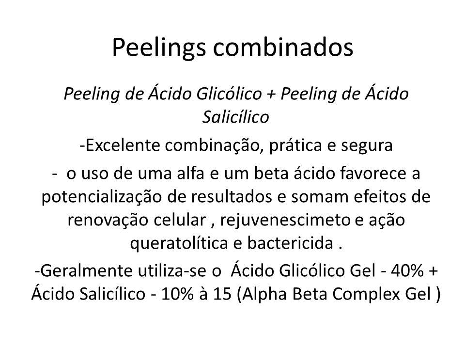 Peelings combinados Peeling de Ácido Glicólico + Peeling de Ácido Salicílico. -Excelente combinação, prática e segura.