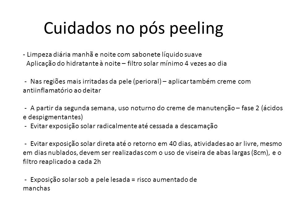 Cuidados no pós peeling