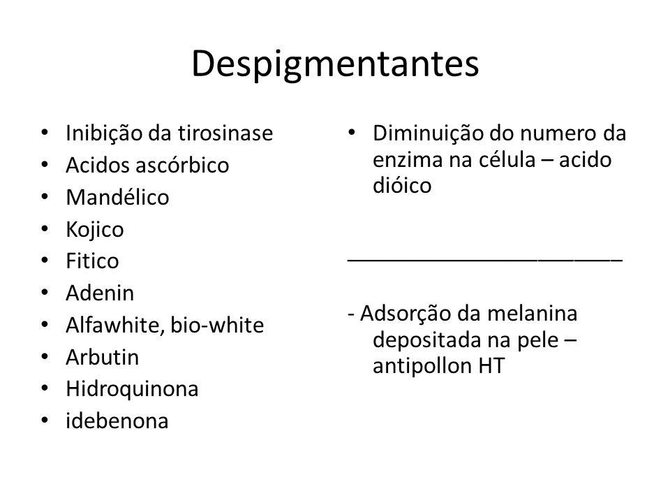 Despigmentantes Inibição da tirosinase Acidos ascórbico Mandélico