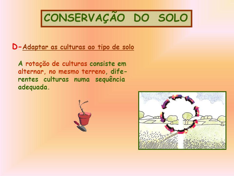 CONSERVAÇÃO DO SOLO D-Adaptar as culturas ao tipo de solo