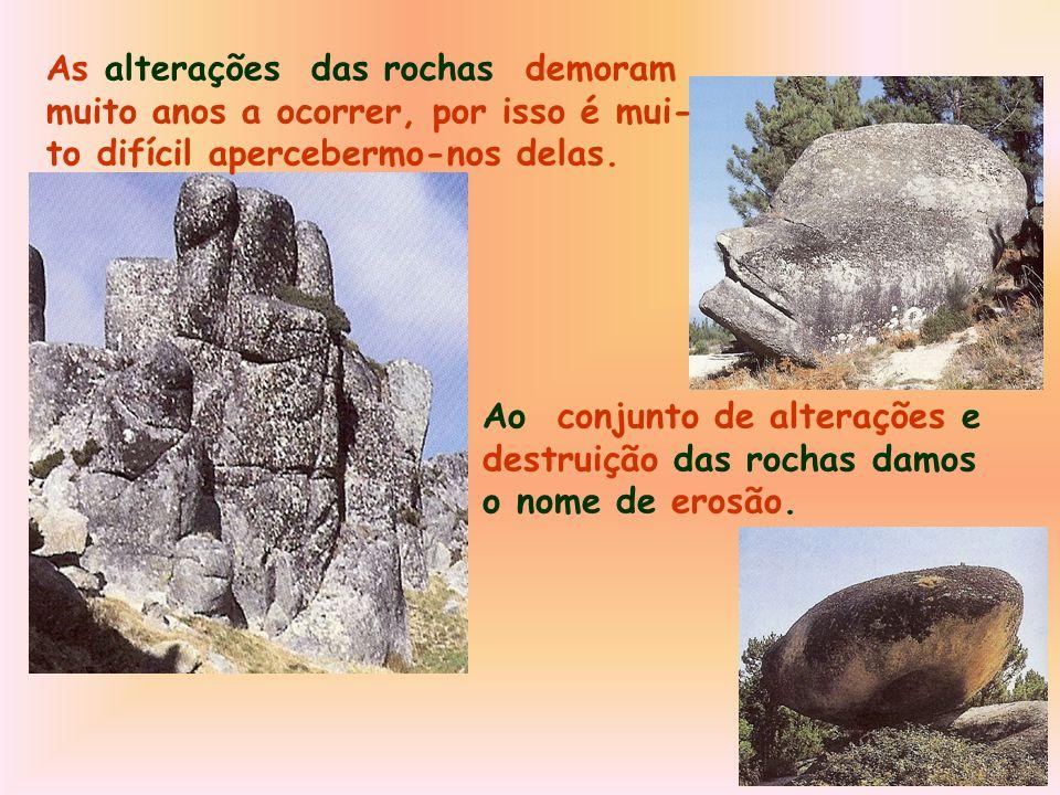 As alterações das rochas demoram