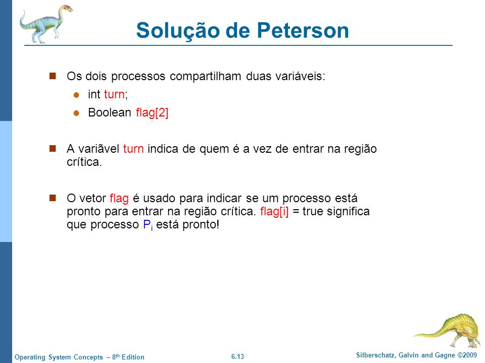 Solução de Peterson Os dois processos compartilham duas variáveis: