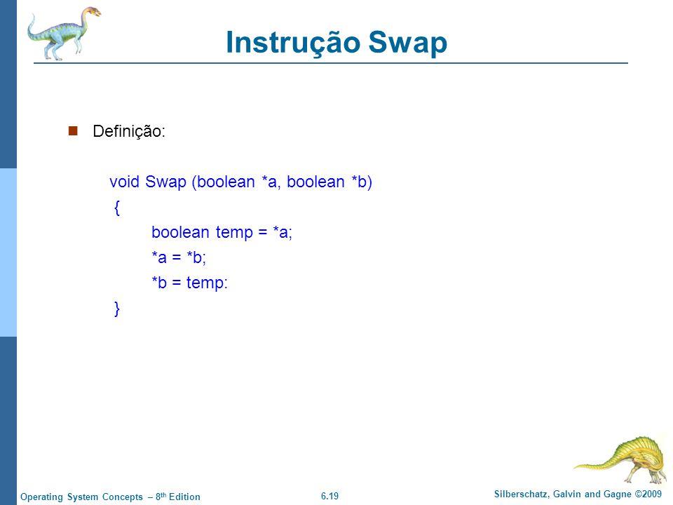 Instrução Swap Definição: void Swap (boolean *a, boolean *b) {
