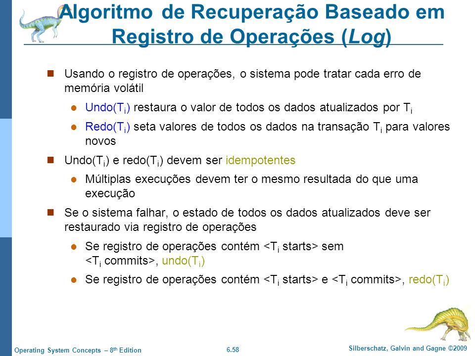 Algoritmo de Recuperação Baseado em Registro de Operações (Log)