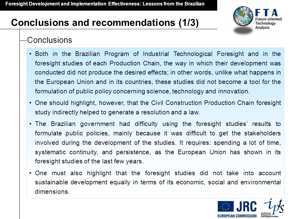 Conclusions and recommendations (1/3)