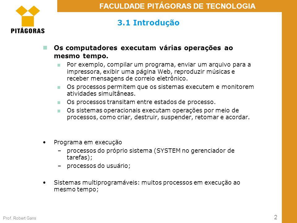 3.1 Introdução Os computadores executam várias operações ao mesmo tempo.
