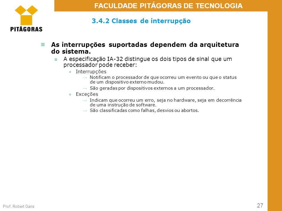 3.4.2 Classes de interrupção