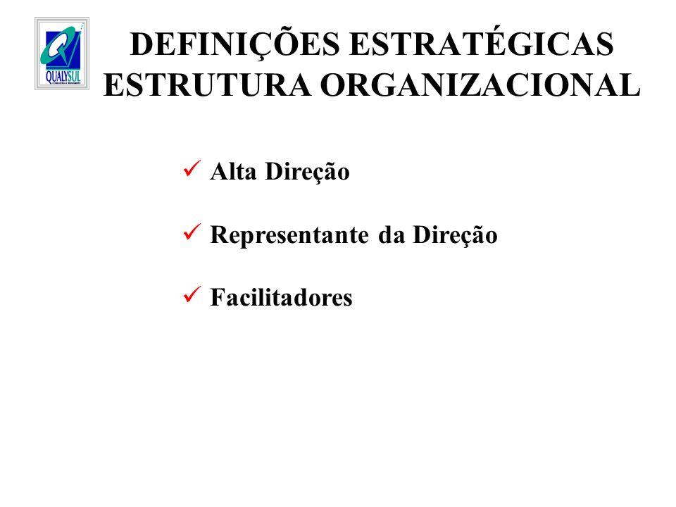 DEFINIÇÕES ESTRATÉGICAS ESTRUTURA ORGANIZACIONAL