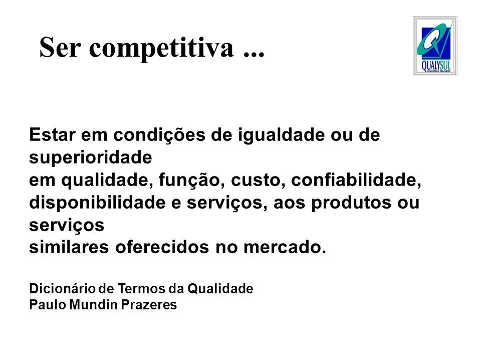 Ser competitiva ... Estar em condições de igualdade ou de superioridade. em qualidade, função, custo, confiabilidade,