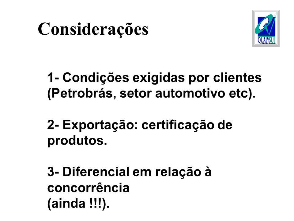 Considerações 1- Condições exigidas por clientes