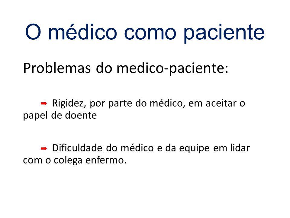 O médico como paciente Problemas do medico-paciente: