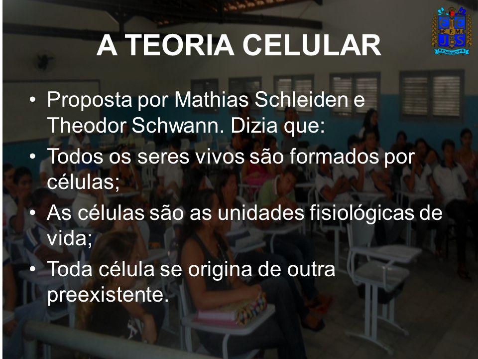 A TEORIA CELULAR Proposta por Mathias Schleiden e Theodor Schwann. Dizia que: Todos os seres vivos são formados por células;