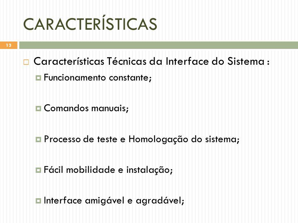 CARACTERÍSTICAS Características Técnicas da Interface do Sistema :