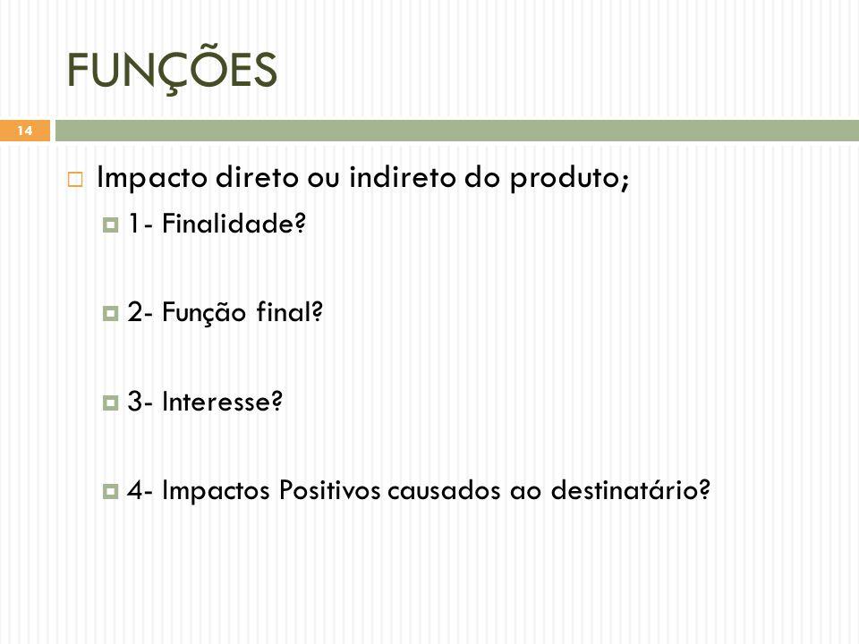 FUNÇÕES Impacto direto ou indireto do produto; 1- Finalidade