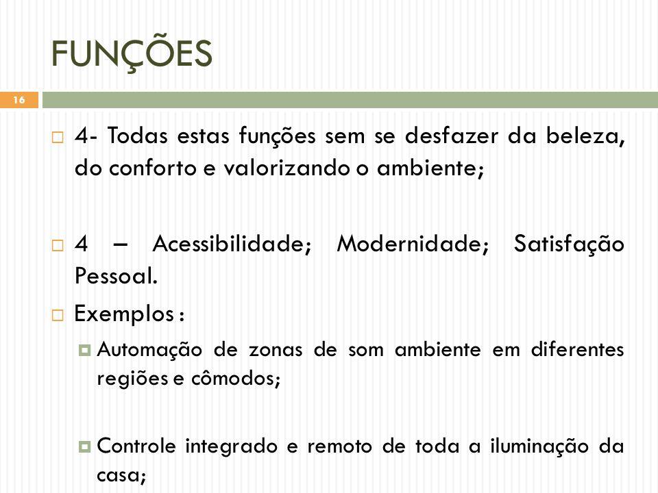FUNÇÕES 4- Todas estas funções sem se desfazer da beleza, do conforto e valorizando o ambiente;