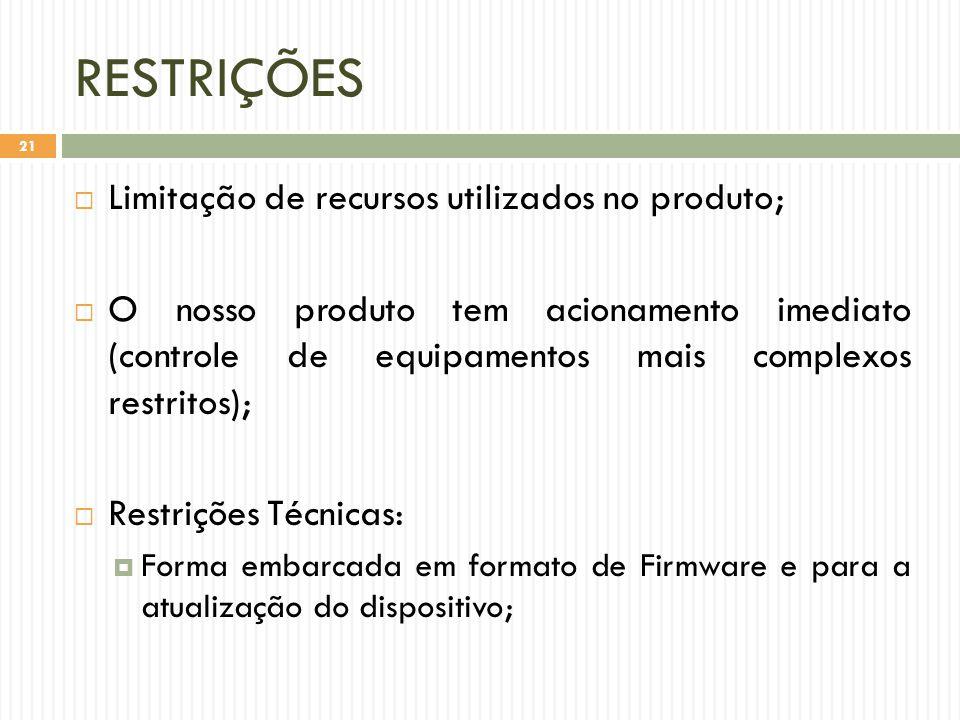 RESTRIÇÕES Limitação de recursos utilizados no produto;