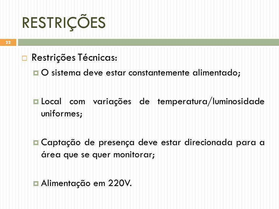 RESTRIÇÕES Restrições Técnicas: