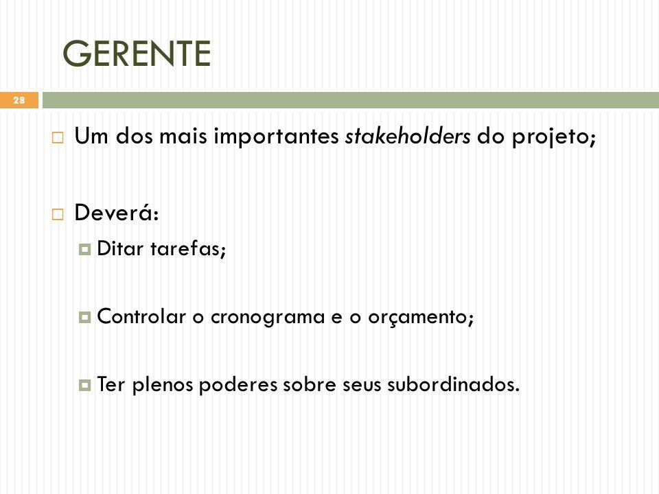 GERENTE Um dos mais importantes stakeholders do projeto; Deverá: