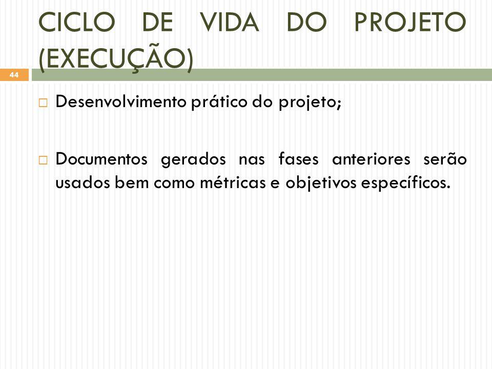 CICLO DE VIDA DO PROJETO (EXECUÇÃO)