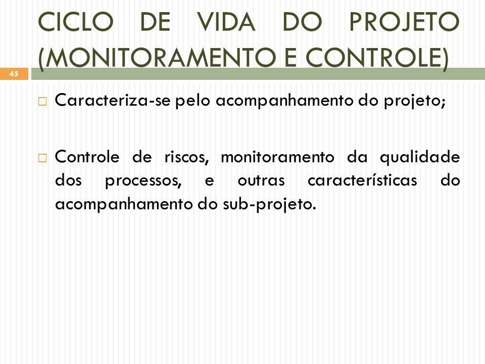 CICLO DE VIDA DO PROJETO (MONITORAMENTO E CONTROLE)