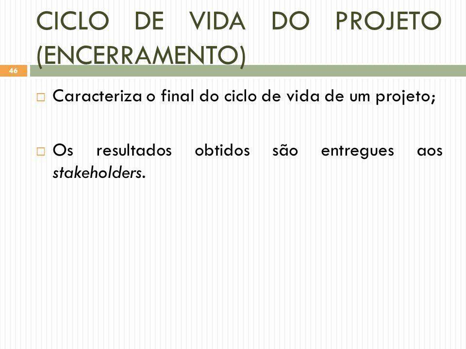 CICLO DE VIDA DO PROJETO (ENCERRAMENTO)
