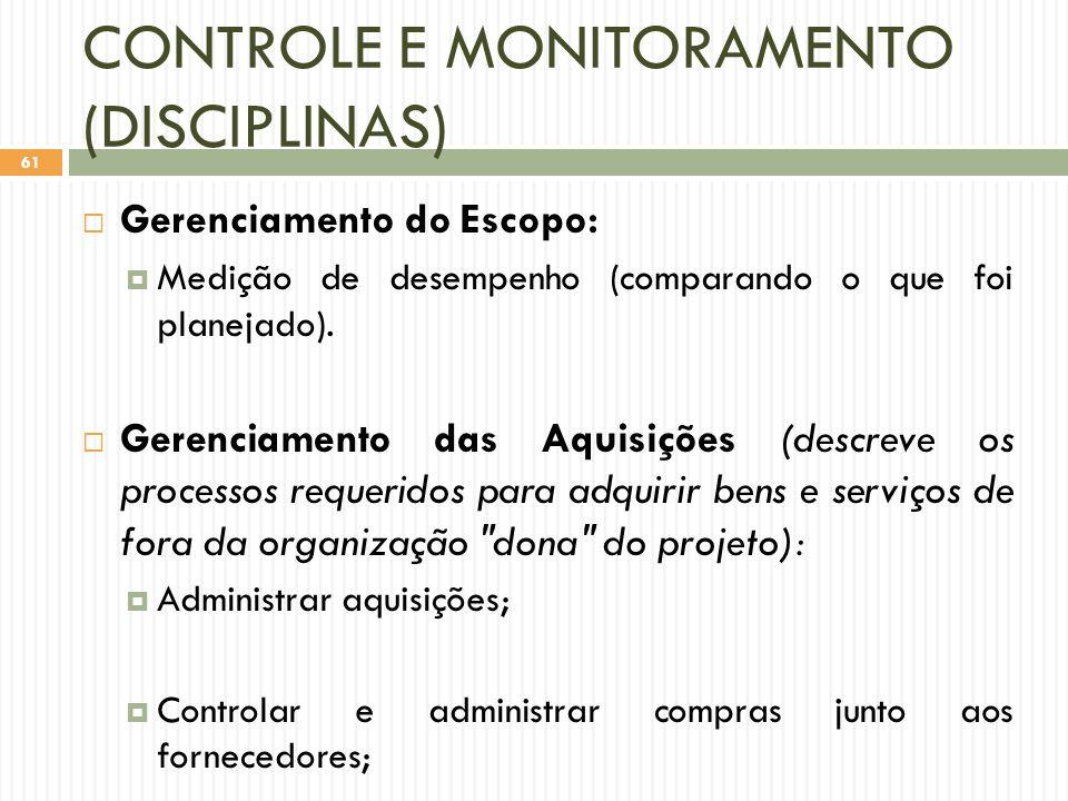 CONTROLE E MONITORAMENTO (DISCIPLINAS)
